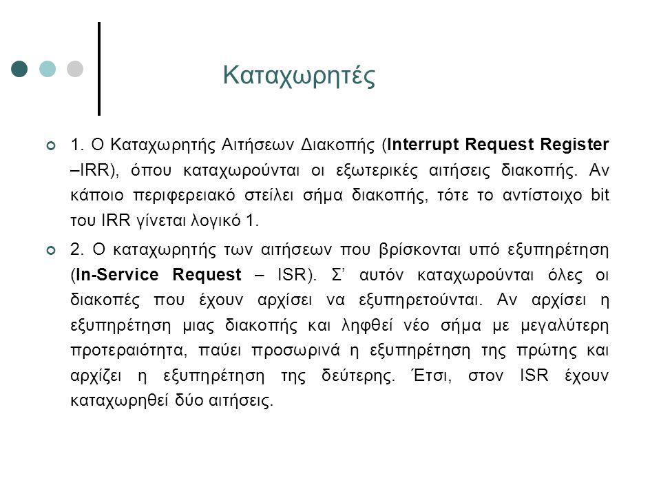 Καταχωρητές 1. O Καταχωρητής Αιτήσεων Διακοπής (Interrupt Request Register –IRR), όπου καταχωρούνται οι εξωτερικές αιτήσεις διακοπής. Αν κάποιο περιφε