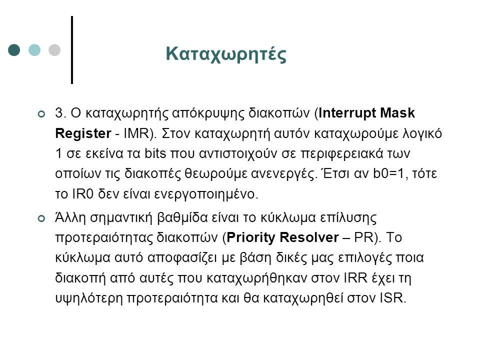 Καταχωρητές 3. Ο καταχωρητής απόκρυψης διακοπών (Interrupt Mask Register - IMR). Στον καταχωρητή αυτόν καταχωρούμε λογικό 1 σε εκείνα τα bits που αντι
