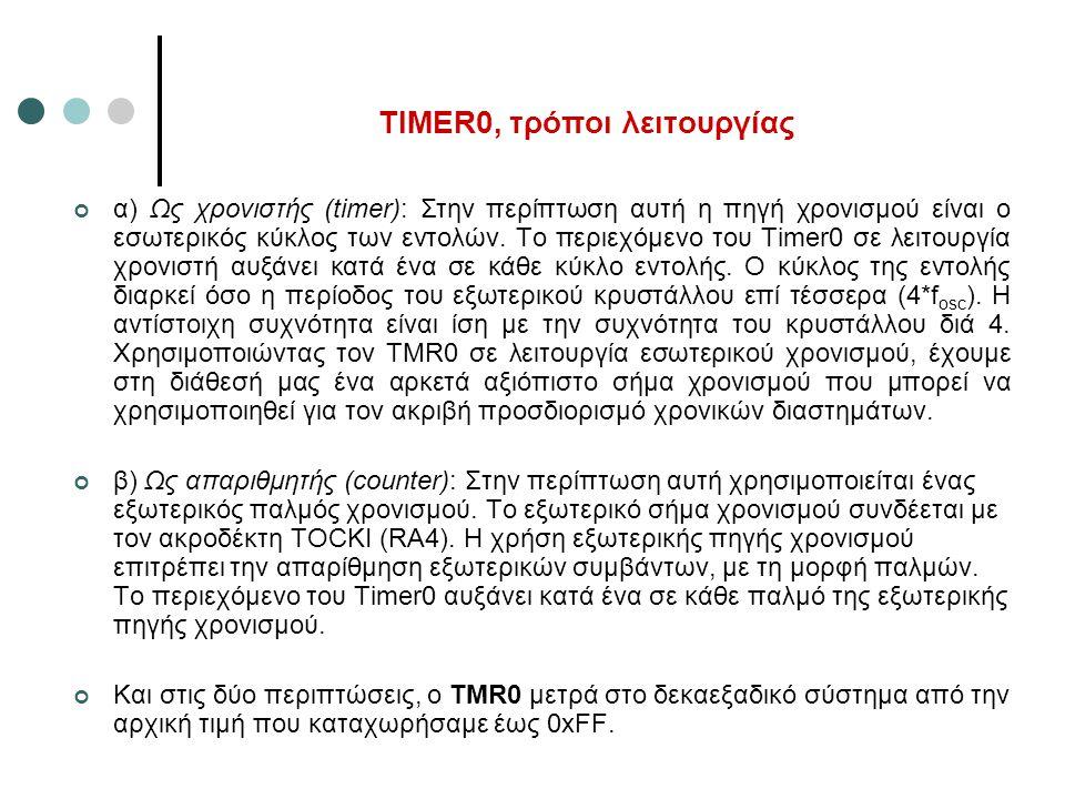 TIMER0, τρόποι λειτουργίας α) Ως χρονιστής (timer): Στην περίπτωση αυτή η πηγή χρονισμού είναι ο εσωτερικός κύκλος των εντολών. Το περιεχόμενο του Tim