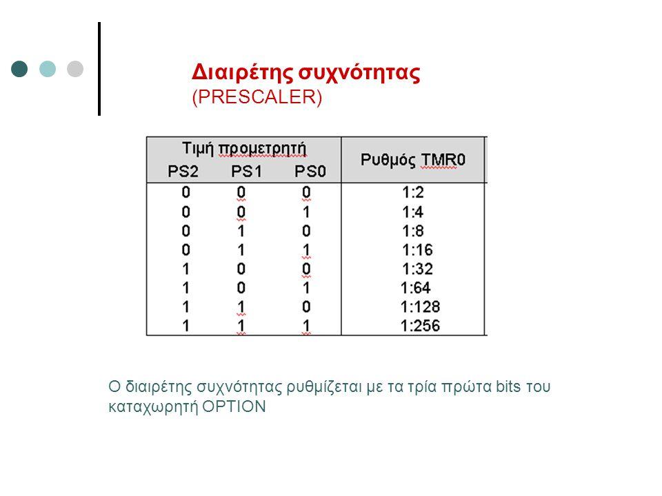 Διαιρέτης συχνότητας (PRESCALER) Ο διαιρέτης συχνότητας ρυθμίζεται με τα τρία πρώτα bits του καταχωρητή OPTION