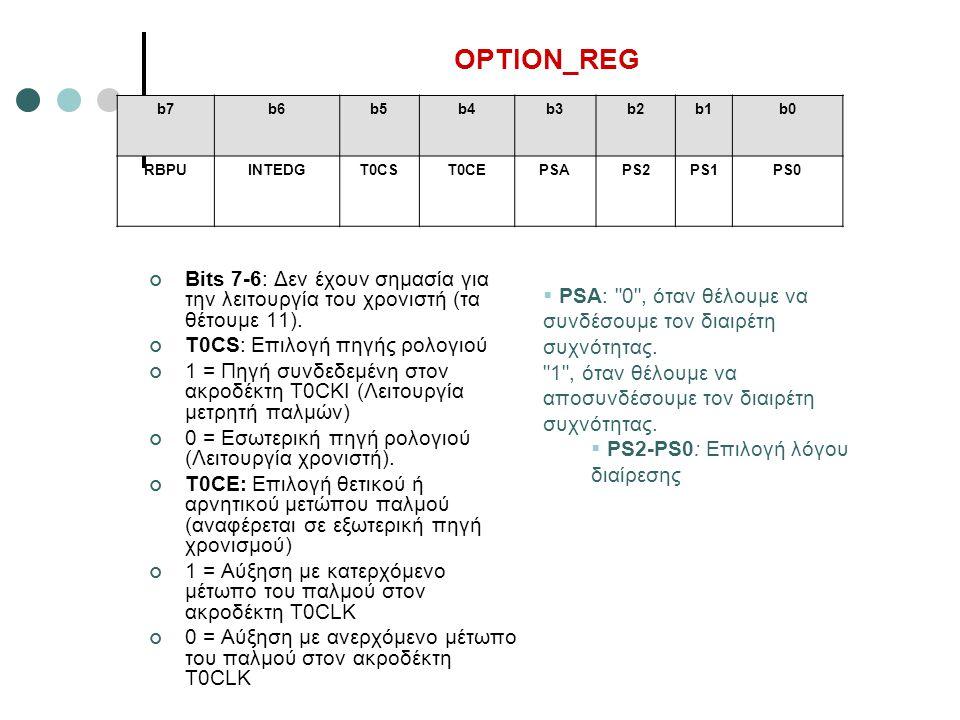 OPTION_REG Bits 7-6: Δεν έχουν σημασία για την λειτουργία του χρονιστή (τα θέτουμε 11). T0CS: Επιλογή πηγής ρολογιού 1 = Πηγή συνδεδεμένη στον ακροδέκ