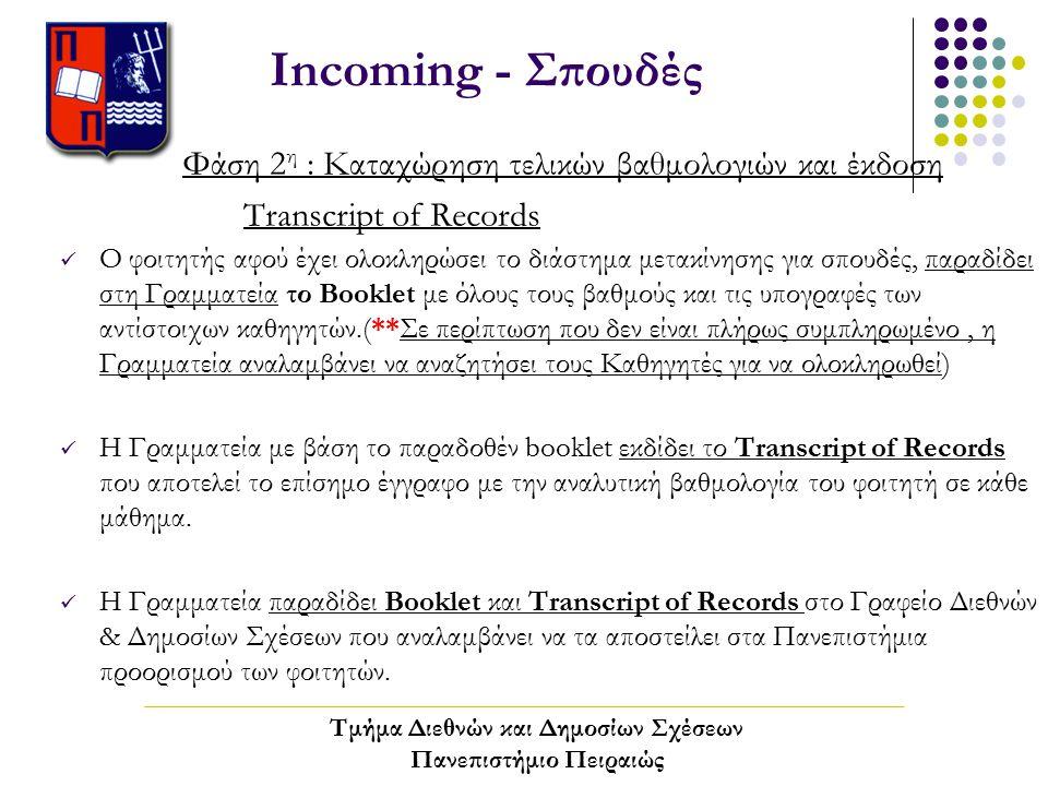 Incoming - Σπουδές Φάση 2 η : Καταχώρηση τελικών βαθμολογιών και έκδοση Transcript of Records Ο φοιτητής αφού έχει ολοκληρώσει το διάστημα μετακίνησης για σπουδές, παραδίδει στη Γραμματεία το Booklet με όλους τους βαθμούς και τις υπογραφές των αντίστοιχων καθηγητών.(**Σε περίπτωση που δεν είναι πλήρως συμπληρωμένο, η Γραμματεία αναλαμβάνει να αναζητήσει τους Καθηγητές για να ολοκληρωθεί) Η Γραμματεία με βάση το παραδοθέν booklet εκδίδει το Transcript of Records που αποτελεί το επίσημο έγγραφο με την αναλυτική βαθμολογία του φοιτητή σε κάθε μάθημα.