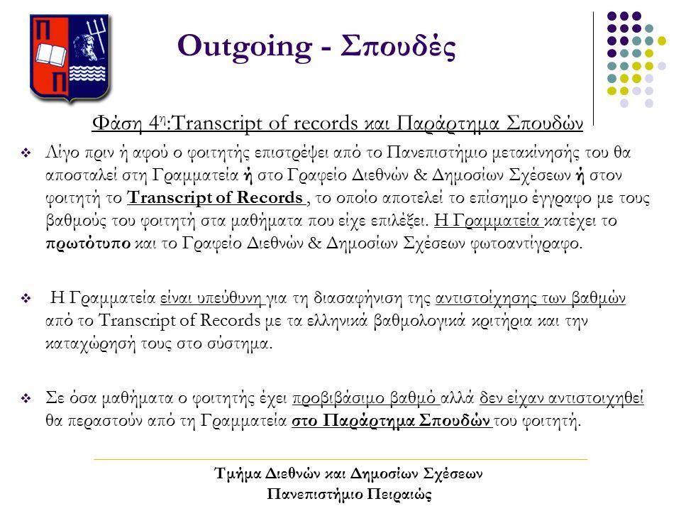 Outgoing - Σπουδές Φάση 4 η :Transcript of records και Παράρτημα Σπουδών  Λίγο πριν ή αφού ο φοιτητής επιστρέψει από το Πανεπιστήμιο μετακίνησής του