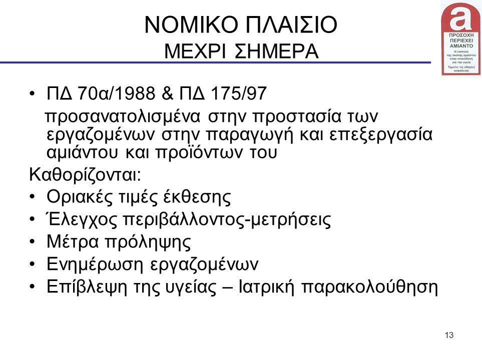 13 ΝΟΜΙΚΟ ΠΛΑΙΣΙΟ ΜΕΧΡΙ ΣΗΜΕΡΑ ΠΔ 70α/1988 & ΠΔ 175/97 προσανατολισμένα στην προστασία των εργαζομένων στην παραγωγή και επεξεργασία αμιάντου και προϊ