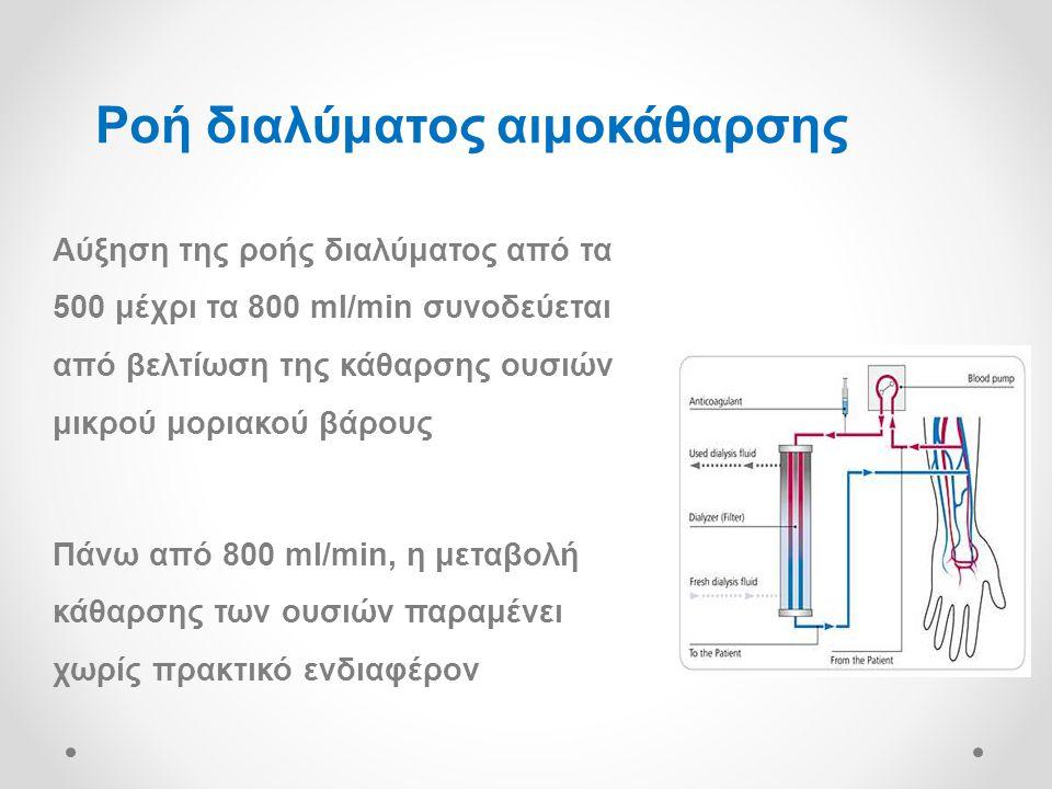 Αύξηση της ροής διαλύματος από τα 500 μέχρι τα 800 ml/min συνοδεύεται από βελτίωση της κάθαρσης ουσιών μικρού μοριακού βάρους Πάνω από 800 ml/min, η μεταβολή κάθαρσης των ουσιών παραμένει χωρίς πρακτικό ενδιαφέρον Ροή διαλύματος αιμοκάθαρσης