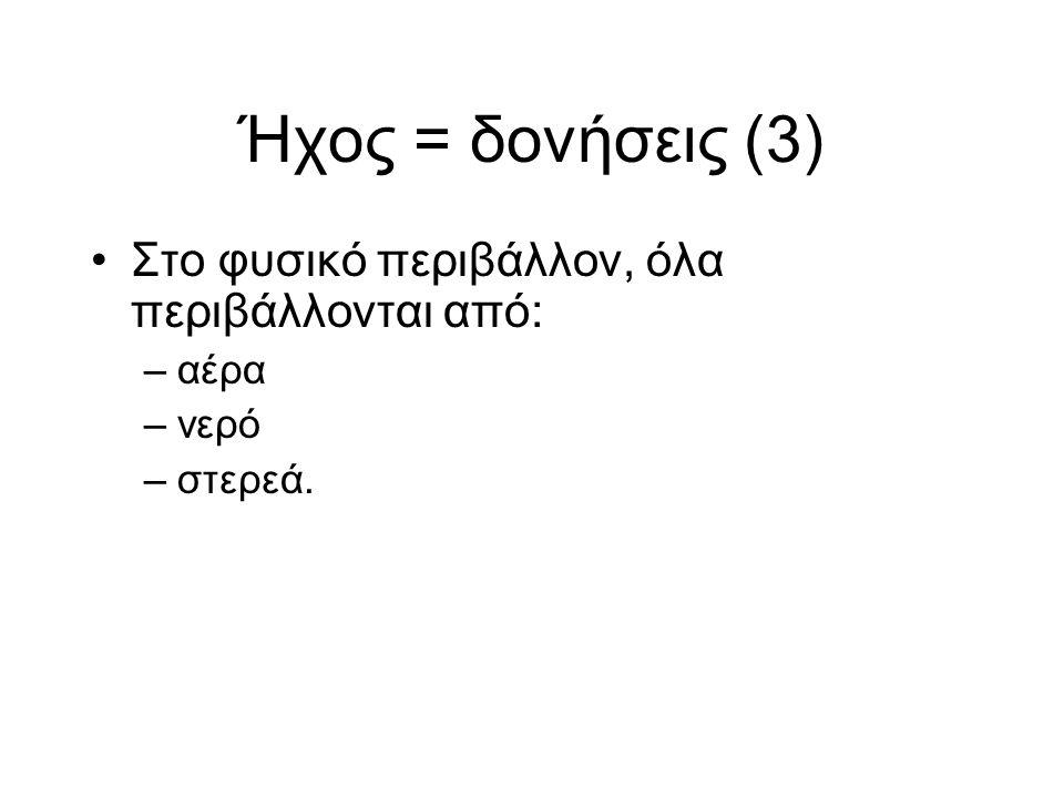 Ήχος = δονήσεις (3) Στο φυσικό περιβάλλον, όλα περιβάλλονται από: –αέρα –νερό –στερεά.