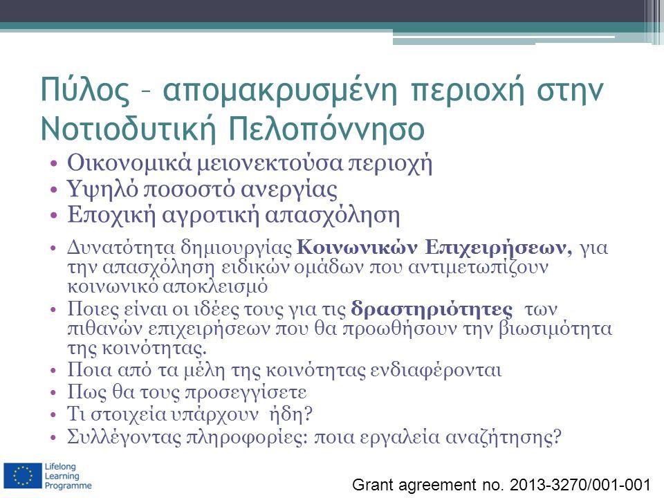 Πύλος – απομακρυσμένη περιοχή στην Νοτιοδυτική Πελοπόννησο Οικονομικά μειονεκτούσα περιοχή Υψηλό ποσοστό ανεργίας Εποχική αγροτική απασχόληση Δυνατότη