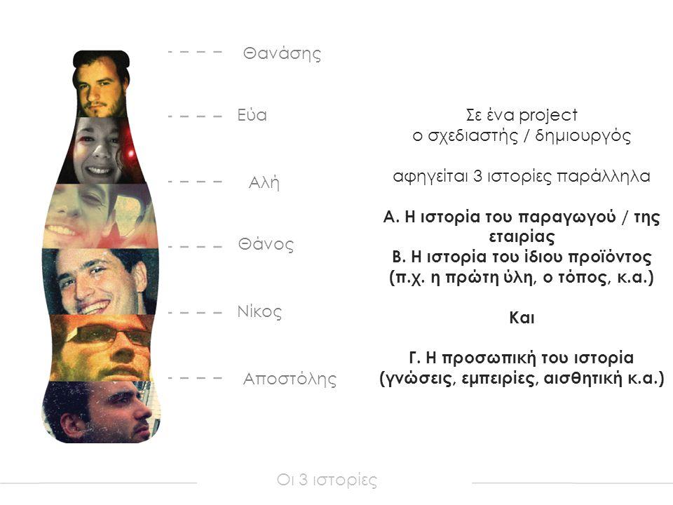 Αποστόλης Νίκος Θάνος Αλή Εύα Θανάσης Οι 3 ιστορίες Σε ένα project ο σχεδιαστής / δημιουργός αφηγείται 3 ιστορίες παράλληλα Α.