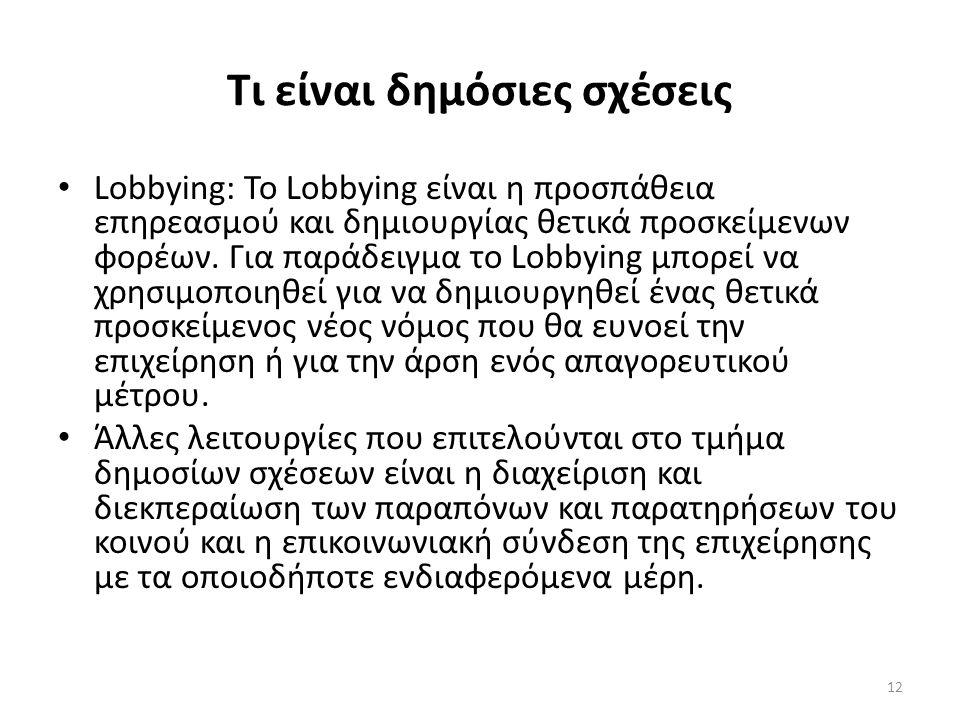 Τι είναι δημόσιες σχέσεις Lobbying: Το Lobbying είναι η προσπάθεια επηρεασμού και δημιουργίας θετικά προσκείμενων φορέων. Για παράδειγμα το Lobbying μ