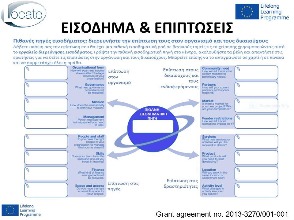 ΕΙΣΟΔΗΜΑ & ΕΠΙΠΤΩΣΕΙΣ Grant agreement no. 2013-3270/001-001