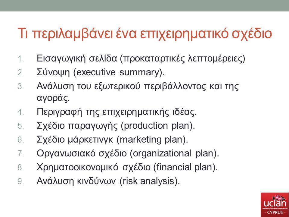 Τι περιλαμβάνει ένα επιχειρηματικό σχέδιο 1. Εισαγωγική σελίδα (προκαταρτικές λεπτομέρειες) 2. Σύνοψη (executive summary). 3. Ανάλυση του εξωτερικού π
