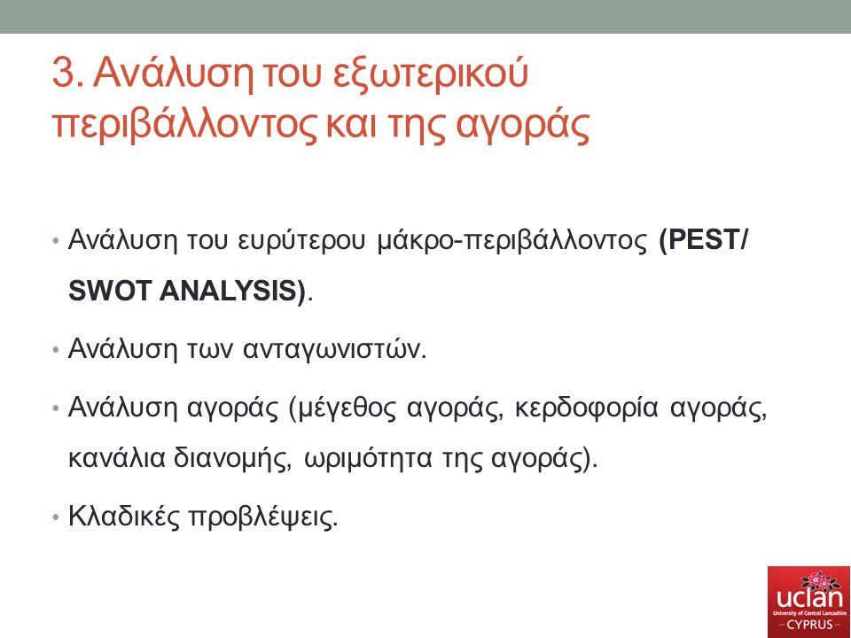 3. Ανάλυση του εξωτερικού περιβάλλοντος και της αγοράς Ανάλυση του ευρύτερου μάκρο-περιβάλλοντος (PEST/ SWOT ANALYSIS). Ανάλυση των ανταγωνιστών. Ανάλ