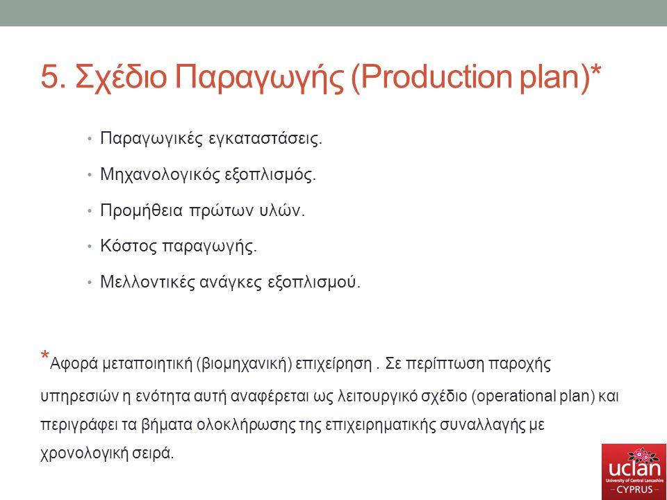 5. Σχέδιο Παραγωγής (Production plan)* Παραγωγικές εγκαταστάσεις. Μηχανολογικός εξοπλισμός. Προμήθεια πρώτων υλών. Κόστος παραγωγής. Μελλοντικές ανάγκ