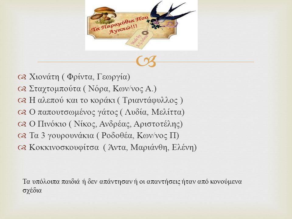   Χιονάτη ( Φρίντα, Γεωργία )  Σταχτομπούτα ( Νόρα, Κων / νος Α.)  Η αλεπού και το κοράκι ( Τριαντάφυλλος )  Ο παπουτσωμένος γάτος ( Λυδία, Μελίτ