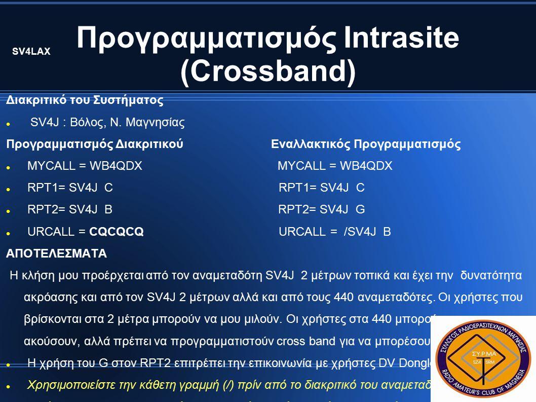 Προγραμματισμός Intrasite (Crossband) Διακριτικό του Συστήματος SV4J : Βόλος, Ν.