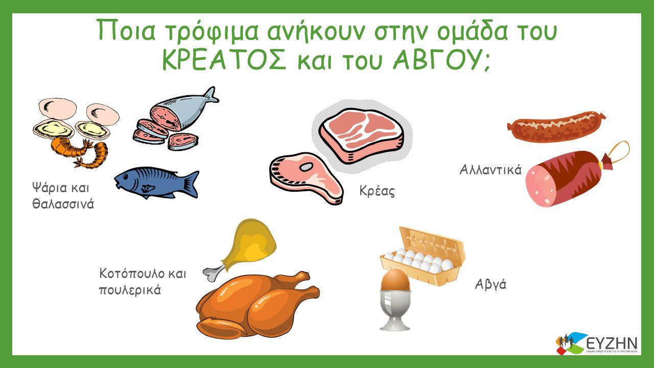 Ποια τρόφιμα ανήκουν στην ομάδα του ΚΡΕΑΤΟΣ και του ΑΒΓΟΥ; Κρέας Αβγά Αλλαντικά Ψάρια και θαλασσινά Κοτόπουλο και πουλερικά
