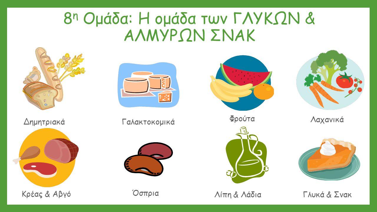 8 η Ομάδα: Η ομάδα των ΓΛΥΚΩΝ & ΑΛΜΥΡΩΝ ΣΝΑΚ Δημητριακά Λαχανικά Γαλακτοκομικά Λίπη & ΛάδιαΓλυκά & Σνακ Κρέας & Αβγό Φρούτα Όσπρια