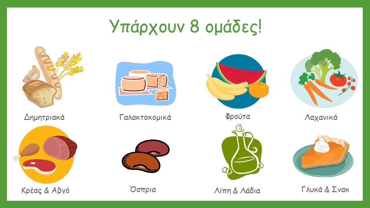 Υπάρχουν 8 ομάδες! ΔημητριακάΛαχανικά Γαλακτοκομικά Λίπη & Λάδια Γλυκά & Σνακ Κρέας & Αβγό Φρούτα Όσπρια