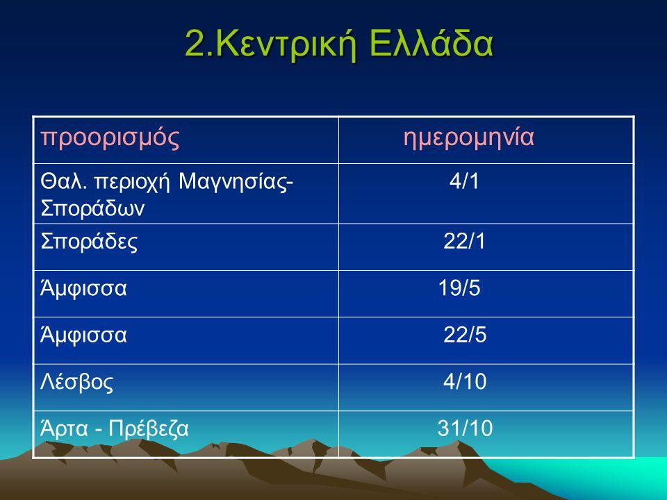 2.Κεντρική Ελλάδα προορισμός ημερομηνία Θαλ.