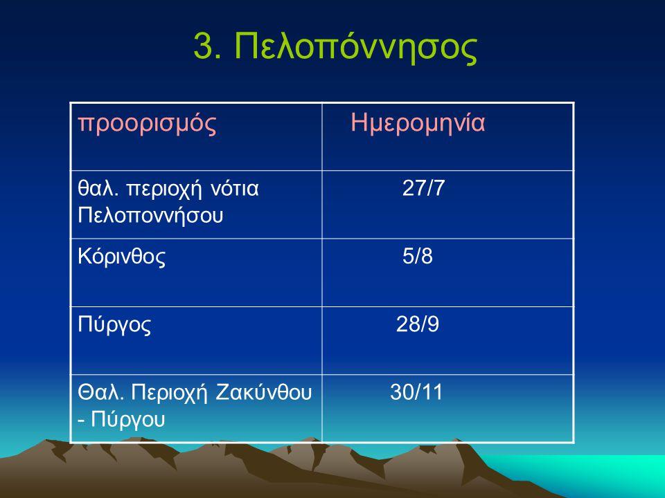 3. Πελοπόννησος προορισμός Ημερομηνία θαλ.