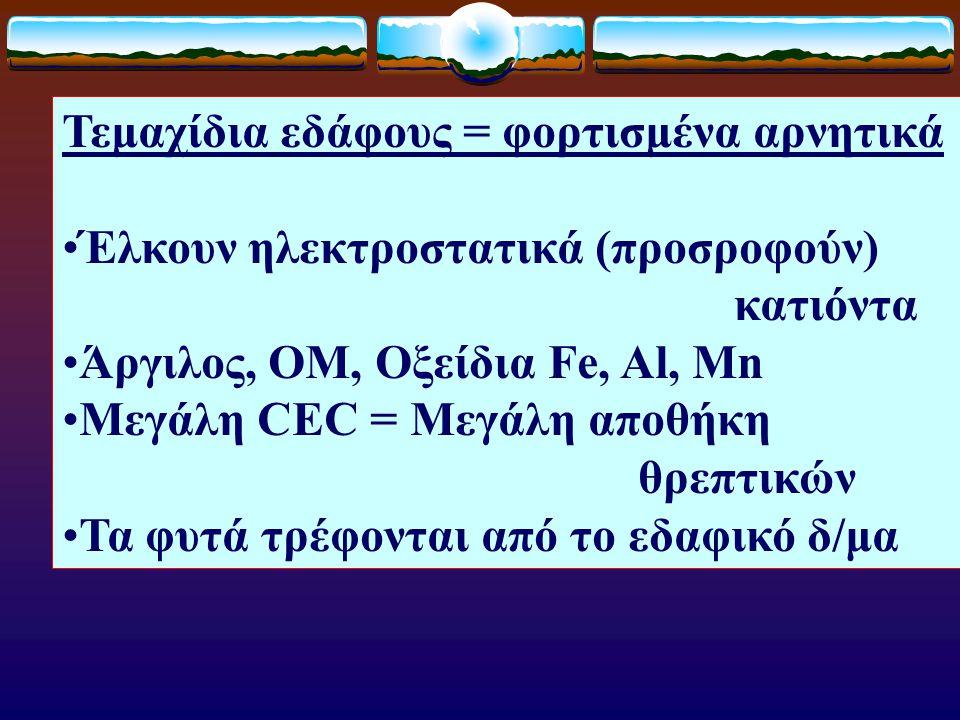 Τεμαχίδια εδάφους = φορτισμένα αρνητικά Έλκουν ηλεκτροστατικά (προσροφούν) κατιόντα Άργιλος, ΟM, Oξείδια Fe, Al, Mn Μεγάλη CEC = Μεγάλη αποθήκη θρεπτι