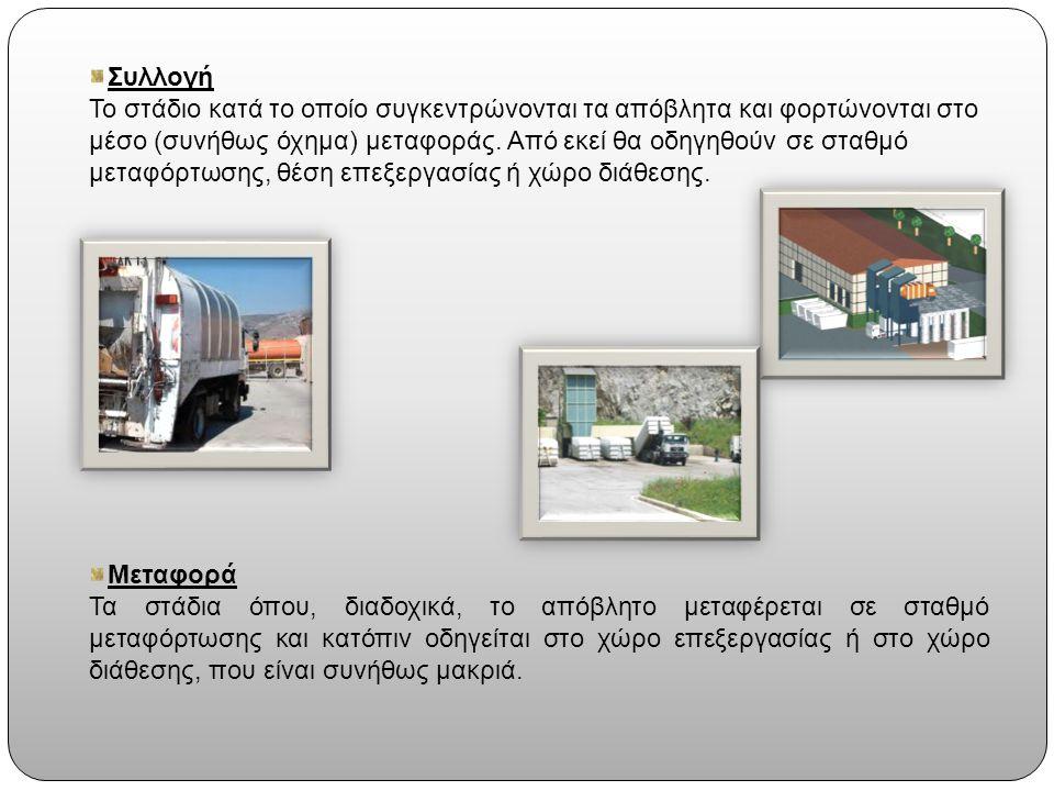 Συλλογή Το στάδιο κατά το οποίο συγκεντρώνονται τα απόβλητα και φορτώνονται στο μέσο (συνήθως όχημα) μεταφοράς.