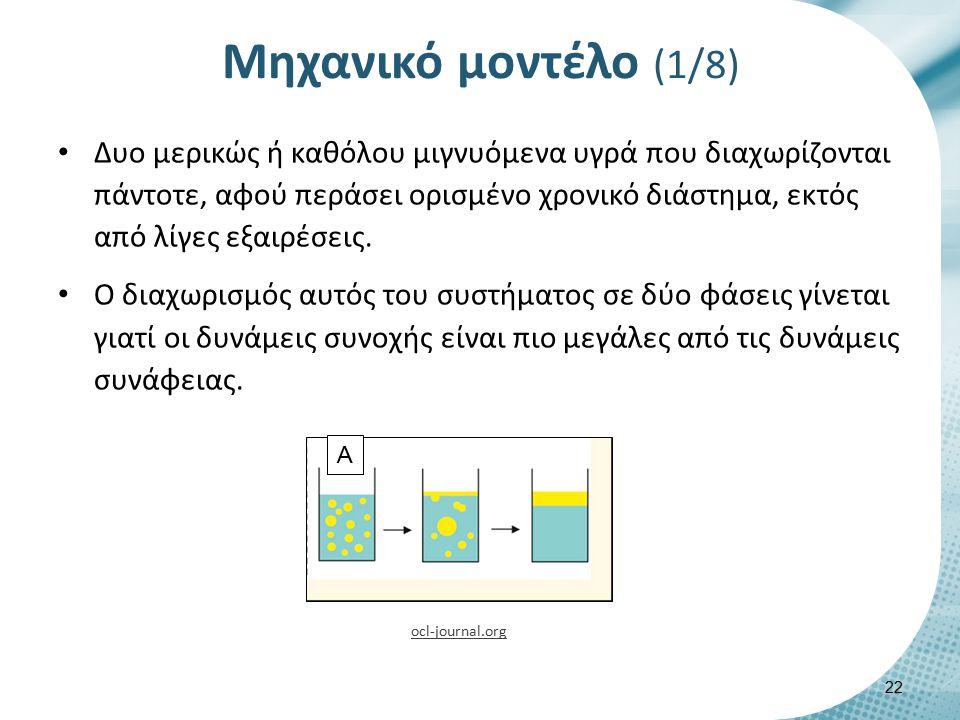 Μηχανικό μοντέλο (1/8) Δυο μερικώς ή καθόλου μιγνυόμενα υγρά που διαχωρίζονται πάντοτε, αφού περάσει ορισμένο χρονικό διάστημα, εκτός από λίγες εξαιρέ