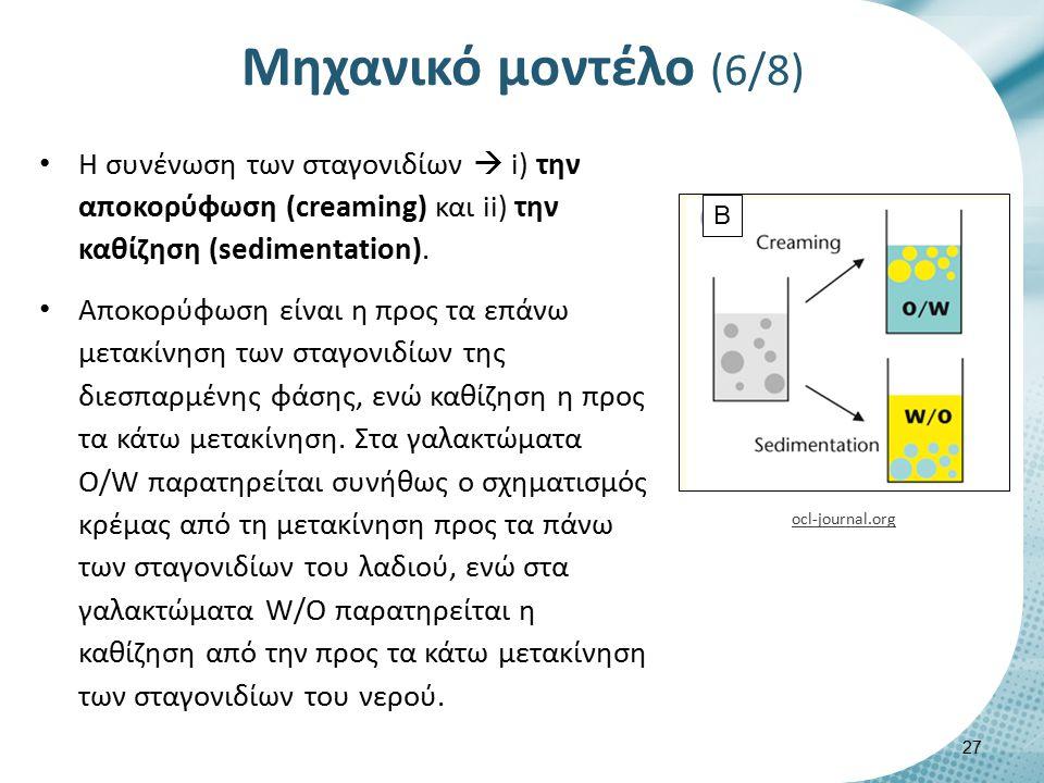 Η συνένωση των σταγονιδίων  i) την αποκορύφωση (creaming) και ii) την καθίζηση (sedimentation). Αποκορύφωση είναι η προς τα επάνω μετακίνηση των σταγ