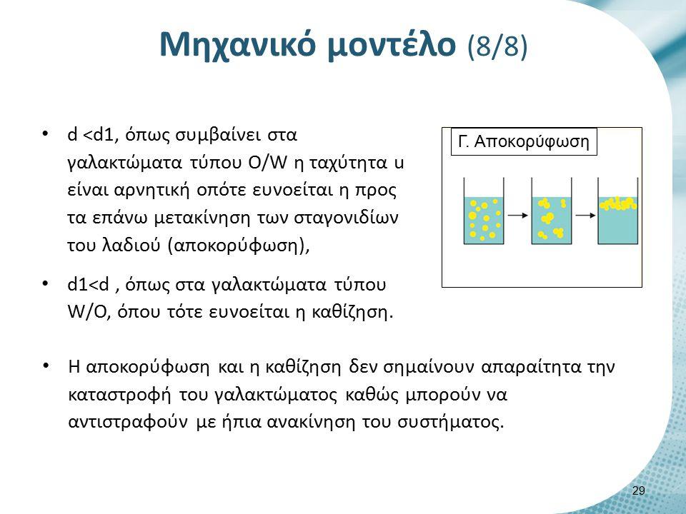 Μηχανικό μοντέλο (8/8) d <d1, όπως συμβαίνει στα γαλακτώματα τύπου Ο/W η ταχύτητα u είναι αρνητική οπότε ευνοείται η προς τα επάνω μετακίνηση των σταγ