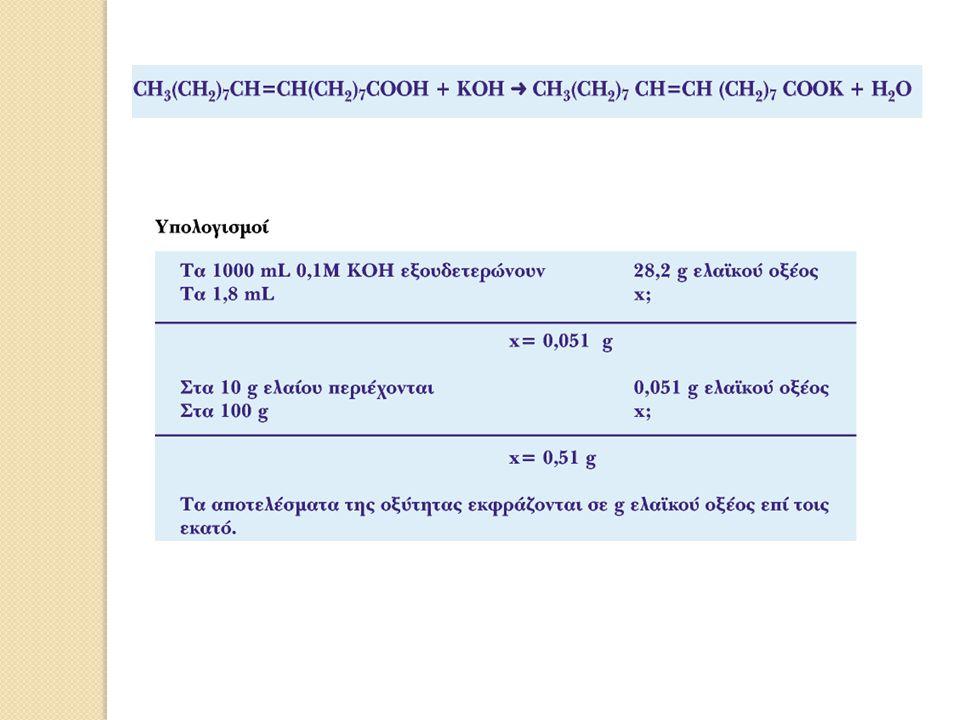 Ερωτήσεις - Ασκήσεις 1.Η κατανάλωση διαλύματος 0,1 Μ ΚΟΗ για την εξουδετέρωση των ελευθέρων λιπαρών οξέων σε δείγμα ελαιόλαδου 10 g είναι 1,3 ml,.