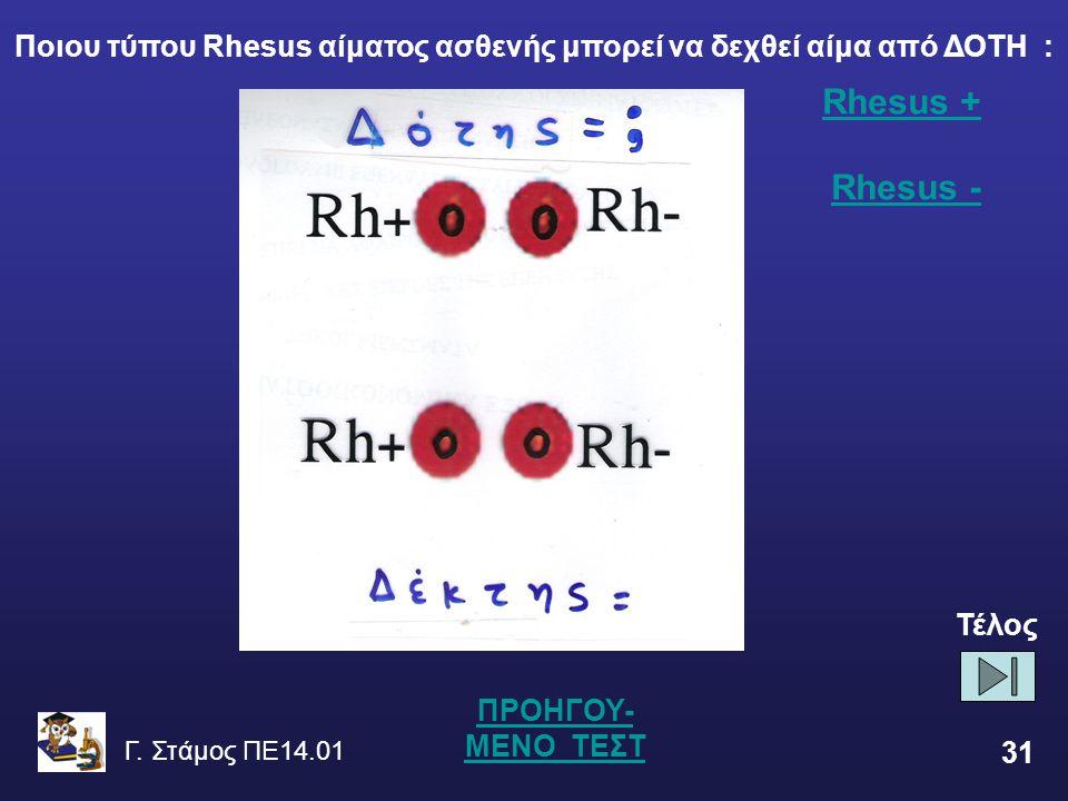Γ. Στάμος ΠΕ14.01 31 Rhesus + Rhesus + Rhesus -Rhesus - ΠΡΟΗΓΟΥ- ΜΕΝΟ ΤΕΣΤ Ποιου τύπου Rhesus αίματος ασθενής μπορεί να δεχθεί αίμα από ΔΟΤΗ : Τέλος
