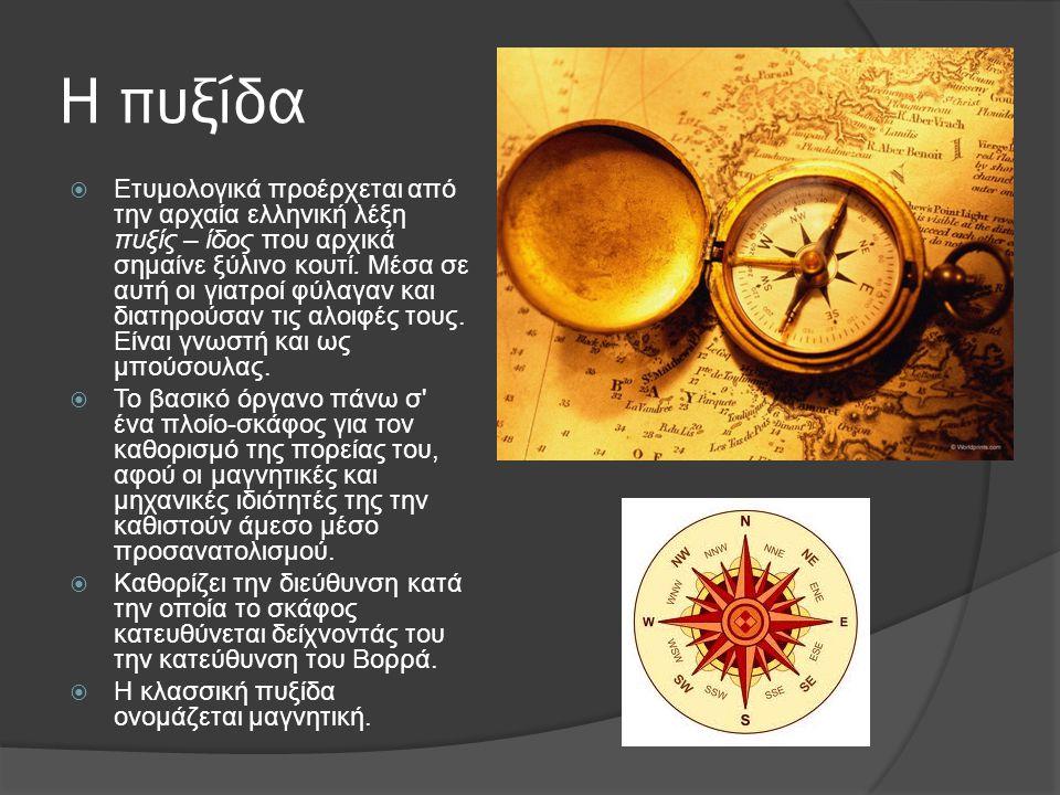 Η πυξίδα  Ετυμολογικά προέρχεται από την αρχαία ελληνική λέξη πυξίς – ίδος που αρχικά σημαίνε ξύλινο κουτί.