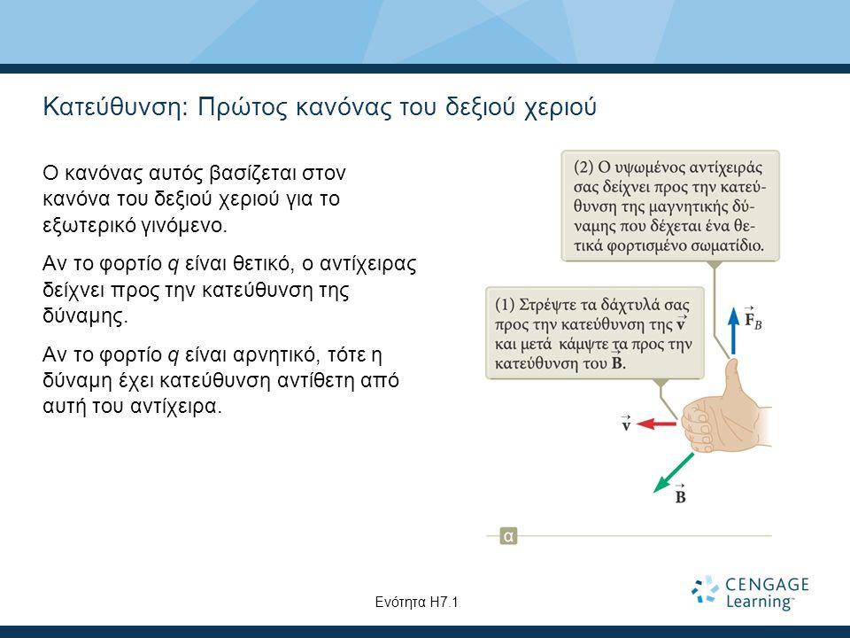 Κατεύθυνση: Πρώτος κανόνας του δεξιού χεριού Ο κανόνας αυτός βασίζεται στον κανόνα του δεξιού χεριού για το εξωτερικό γινόμενο. Αν το φορτίο q είναι θ