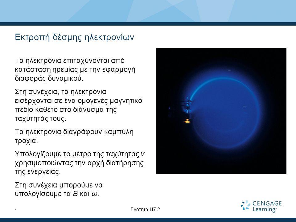 Εκτροπή δέσμης ηλεκτρονίων Τα ηλεκτρόνια επιταχύνονται από κατάσταση ηρεμίας με την εφαρμογή διαφοράς δυναμικού. Στη συνέχεια, τα ηλεκτρόνια εισέρχοντ
