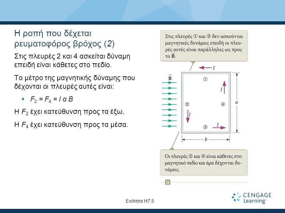 Η ροπή που δέχεται ρευματοφόρος βρόχος (2) Στις πλευρές 2 και 4 ασκείται δύναμη επειδή είναι κάθετες στο πεδίο. Το μέτρο της μαγνητικής δύναμης που δέ
