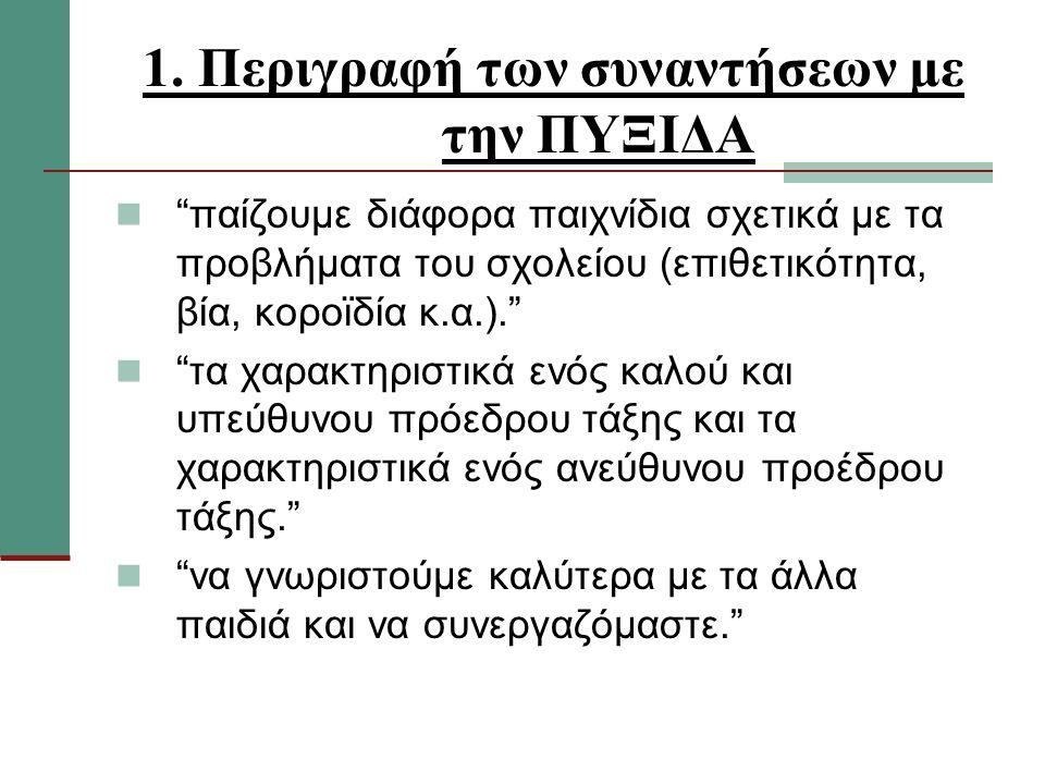"""1. Περιγραφή των συναντήσεων με την ΠΥΞΙΔΑ """"παίζουμε διάφορα παιχνίδια σχετικά με τα προβλήματα του σχολείου (επιθετικότητα, βία, κοροϊδία κ.α.)."""" """"τα"""