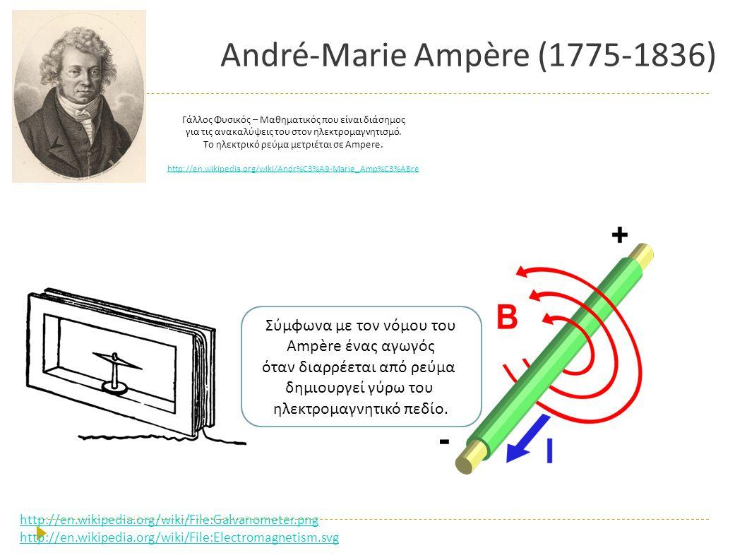 André-Marie Ampère (1775-1836) Γάλλος Φυσικός – Μαθηματικός π ου είναι διάσημος για τις ανακαλύψεις του στον ηλεκτρομαγνητισμό. To ηλεκτρικό ρεύμα μετ