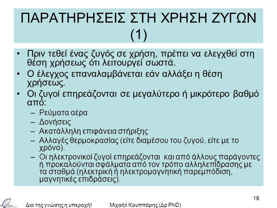 Δια της γνώσης η υπεροχή!Μιχαήλ Κουππάρης (Δρ PhD) 16 ΠΑΡΑΤΗΡΗΣΕΙΣ ΣΤΗ ΧΡΗΣΗ ΖΥΓΩΝ (1) Πριν τεθεί ένας ζυγός σε χρήση, πρέπει να ελεγχθεί στη θέση χρή