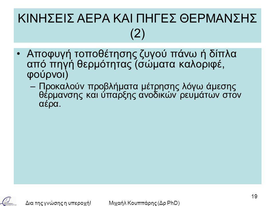 Δια της γνώσης η υπεροχή!Μιχαήλ Κουππάρης (Δρ PhD) 19 ΚΙΝΗΣΕΙΣ ΑΕΡΑ ΚΑΙ ΠΗΓΕΣ ΘΕΡΜΑΝΣΗΣ (2) Αποφυγή τοποθέτησης ζυγού πάνω ή δίπλα από πηγή θερμότητας