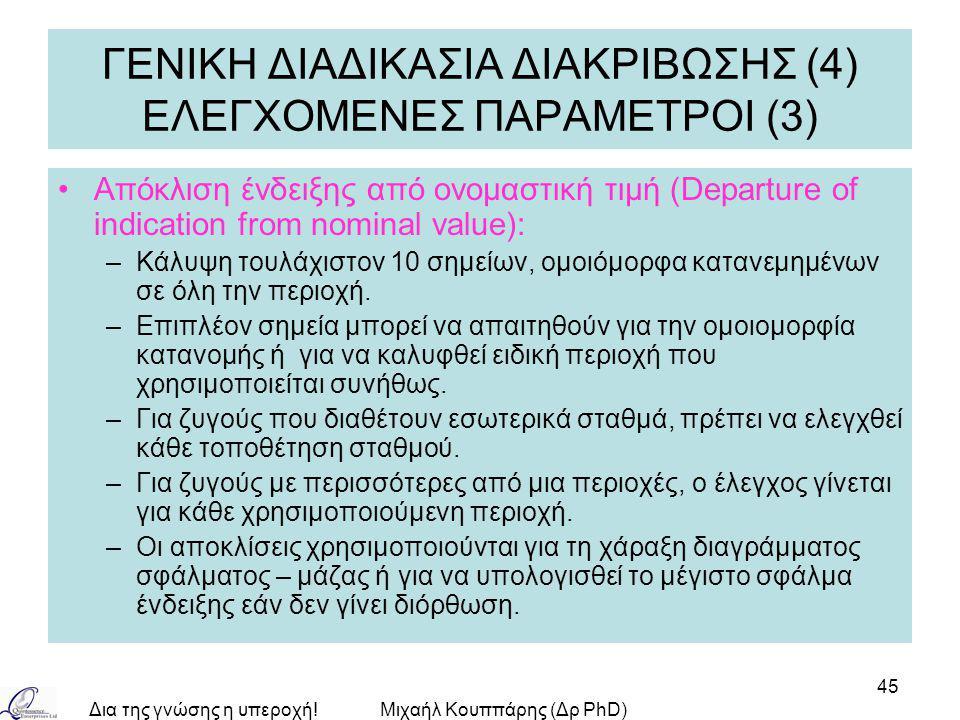 Δια της γνώσης η υπεροχή!Μιχαήλ Κουππάρης (Δρ PhD) 45 ΓΕΝΙΚΗ ΔΙΑΔΙΚΑΣΙΑ ΔΙΑΚΡΙΒΩΣΗΣ (4) ΕΛΕΓΧΟΜΕΝΕΣ ΠΑΡΑΜΕΤΡΟΙ (3) Απόκλιση ένδειξης από ονομαστική τιμή (Departure of indication from nominal value): –Κάλυψη τουλάχιστον 10 σημείων, ομοιόμορφα κατανεμημένων σε όλη την περιοχή.