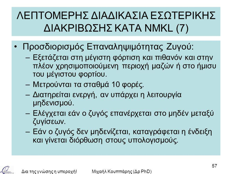 Δια της γνώσης η υπεροχή!Μιχαήλ Κουππάρης (Δρ PhD) 57 ΛΕΠΤΟΜΕΡΗΣ ΔΙΑΔΙΚΑΣΙΑ ΕΣΩΤΕΡΙΚΗΣ ΔΙΑΚΡΙΒΩΣΗΣ ΚΑΤA NMKL (7) Προσδιορισμός Επαναληψιμότητας Ζυγού: