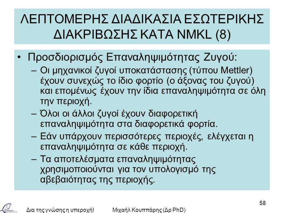 Δια της γνώσης η υπεροχή!Μιχαήλ Κουππάρης (Δρ PhD) 58 ΛΕΠΤΟΜΕΡΗΣ ΔΙΑΔΙΚΑΣΙΑ ΕΣΩΤΕΡΙΚΗΣ ΔΙΑΚΡΙΒΩΣΗΣ ΚΑΤA NMKL (8) Προσδιορισμός Επαναληψιμότητας Ζυγού: –Οι μηχανικοί ζυγοί υποκατάστασης (τύπου Mettler) έχουν συνεχώς το ίδιο φορτίο (ο άξονας του ζυγού) και επομένως έχουν την ίδια επαναληψιμότητα σε όλη την περιοχή.