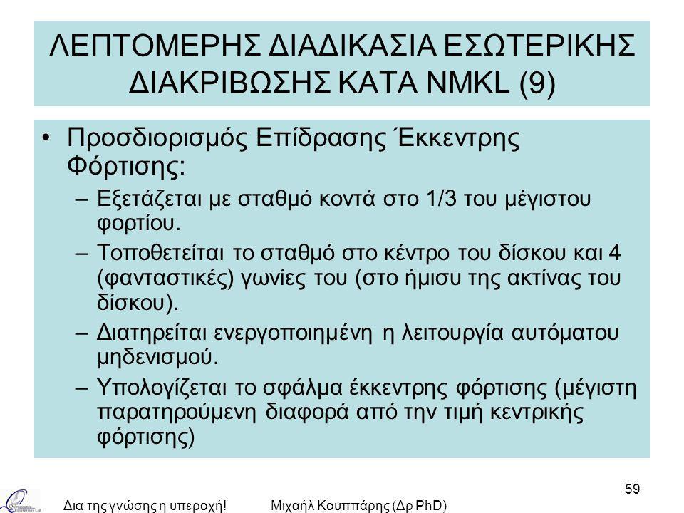 Δια της γνώσης η υπεροχή!Μιχαήλ Κουππάρης (Δρ PhD) 59 ΛΕΠΤΟΜΕΡΗΣ ΔΙΑΔΙΚΑΣΙΑ ΕΣΩΤΕΡΙΚΗΣ ΔΙΑΚΡΙΒΩΣΗΣ ΚΑΤA NMKL (9) Προσδιορισμός Επίδρασης Έκκεντρης Φόρτισης: –Εξετάζεται με σταθμό κοντά στο 1/3 του μέγιστου φορτίου.