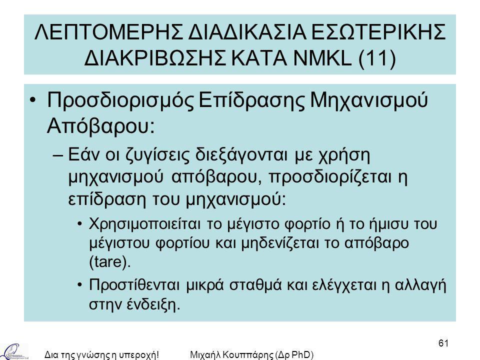 Δια της γνώσης η υπεροχή!Μιχαήλ Κουππάρης (Δρ PhD) 61 ΛΕΠΤΟΜΕΡΗΣ ΔΙΑΔΙΚΑΣΙΑ ΕΣΩΤΕΡΙΚΗΣ ΔΙΑΚΡΙΒΩΣΗΣ ΚΑΤA NMKL (11) Προσδιορισμός Επίδρασης Μηχανισμού Α