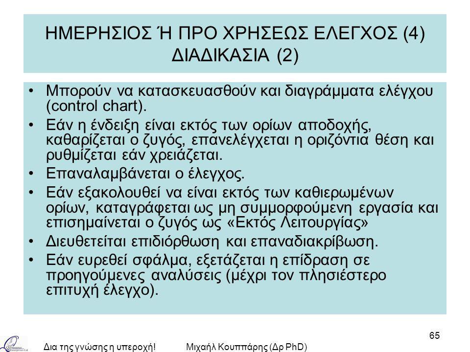 Δια της γνώσης η υπεροχή!Μιχαήλ Κουππάρης (Δρ PhD) 65 ΗΜΕΡΗΣΙΟΣ Ή ΠΡΟ ΧΡΗΣΕΩΣ ΕΛΕΓΧΟΣ (4) ΔΙΑΔΙΚΑΣΙΑ (2) Μπορούν να κατασκευασθούν και διαγράμματα ελέγχου (control chart).