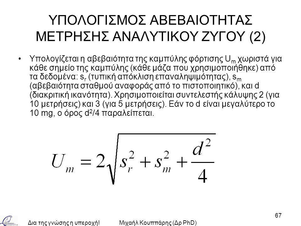 Δια της γνώσης η υπεροχή!Μιχαήλ Κουππάρης (Δρ PhD) 67 ΥΠΟΛΟΓΙΣΜΟΣ ΑΒΕΒΑΙΟΤΗΤΑΣ ΜΕΤΡΗΣΗΣ ΑΝΑΛΥΤΙΚΟΥ ΖΥΓΟΥ (2) Υπολογίζεται η αβεβαιότητα της καμπύλης φόρτισης U m χωριστά για κάθε σημείο της καμπύλης (κάθε μάζα που χρησιμοποιήθηκε) από τα δεδομένα: s r (τυπική απόκλιση επαναληψιμότητας), s m (αβεβαιότητα σταθμού αναφοράς από το πιστοποιητικό), και d (διακριτική ικανότητα).