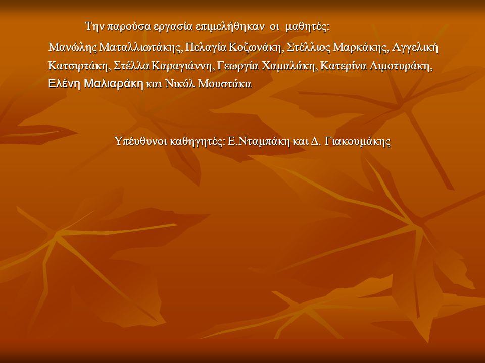 Την παρούσα εργασία επιμελήθηκαν οι μαθητές: Την παρούσα εργασία επιμελήθηκαν οι μαθητές: Μανώλης Ματαλλιωτάκης, Πελαγία Κοζωνάκη, Στέλλιος Μαρκάκης,