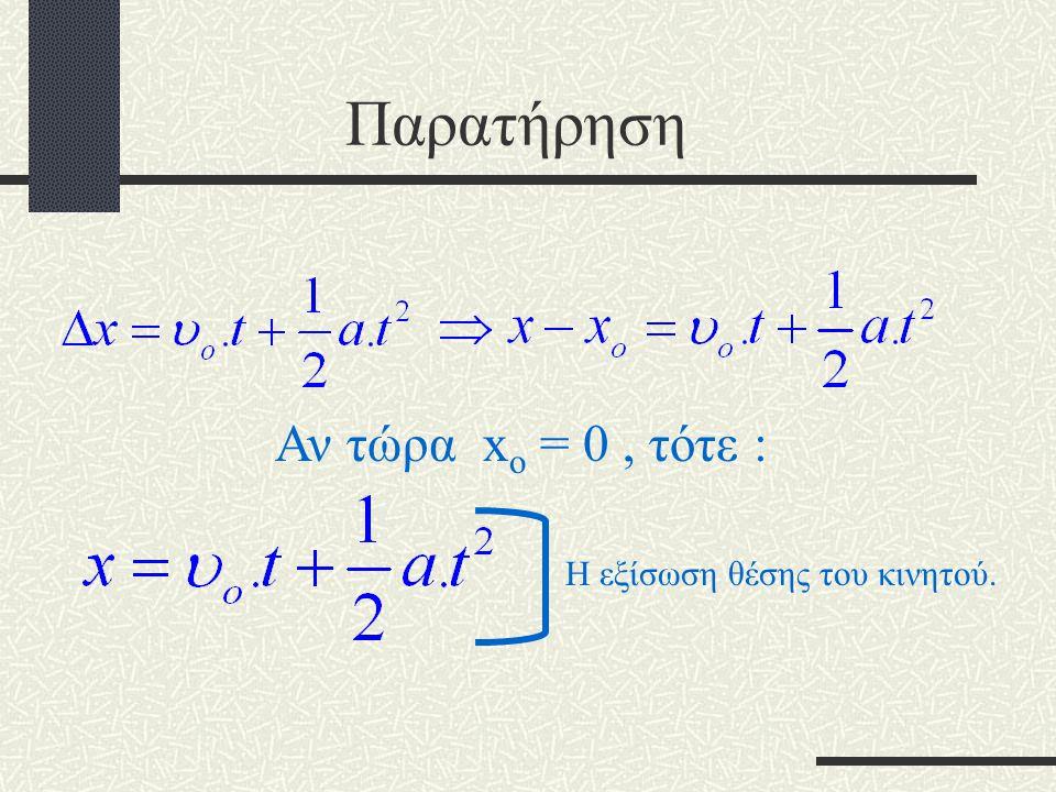 Η μετατόπιση στην ευθύγραμμη ομαλά επιταχυνόμενη κίνηση. 0 t υ υoυo Έχουμε δει ότι η μετατόπιση είναι ίση με το εμβαδόν στο υ – t διάγραμμα. t υ