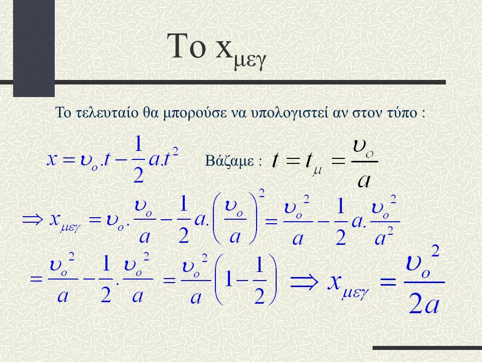 Το x μεγ υoυo 0 t υ tμtμ Τι παριστάνει το εμβαδόν ; Την μετατόπιση μέχρι να σταματήσει ( έστω στιγμιαία ) Αν x o = 0 τότε :