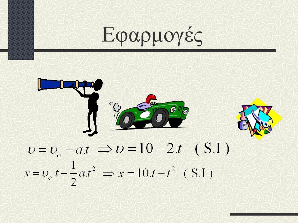 Ποιες είναι οι εξισώσεις ταχύτητας και θέσης του αυτοκινήτου, το οποίο έχει αρχική ταχύτητα 10 m / s, επιβράδυνση 2 / s 2 και την χρονική στιγμή μηδέν